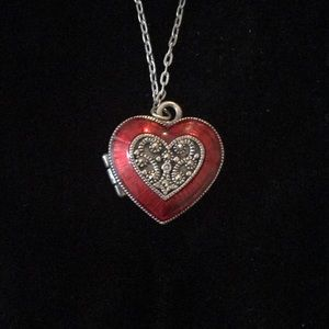 Judith Jack Red Heart Locket Necklace